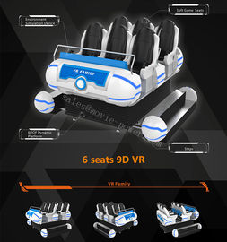 9.5KW 9D VR سینما، 6 صندلی 6 Dof Platform Amusement Park VR Game Machine
